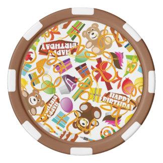 Illustration de motif de joyeux anniversaire lot de jeton de poker