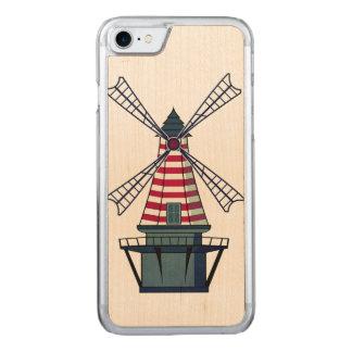 Illustration de moulin à vent coque iphone 7 en bois