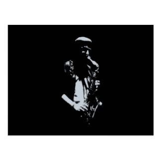 Illustration de musicien de saxophone cartes postales
