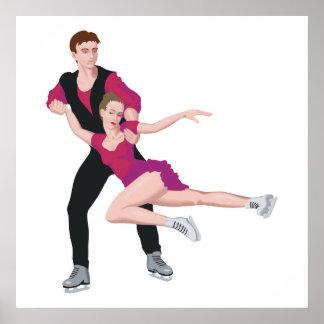 illustration de patinage artistique de couples poster