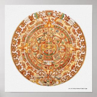 Illustration de pierre aztèque du soleil posters