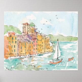 Illustration de port de Porofino avec le voilier Poster