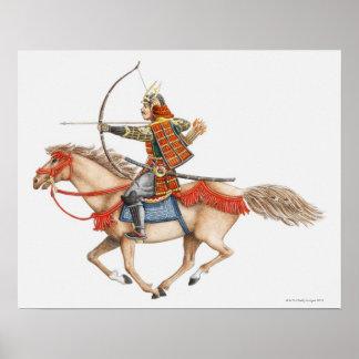 Illustration de premier guerrier samouraï dessus poster