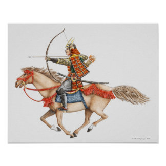 Illustration de premier guerrier samouraï dessus posters
