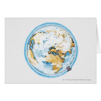 Illustration de satellite satellisant la terre carte de vœux