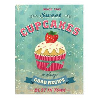 Illustration de signe vintage de petits gâteaux cartes postales