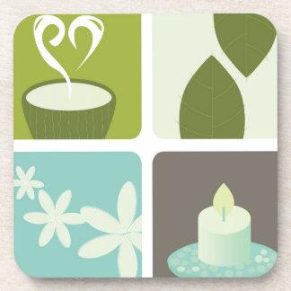 Illustration de thé vert de concepteurs dessous-de-verre