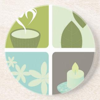 Illustration de thé vert de concepteurs dessous de verre