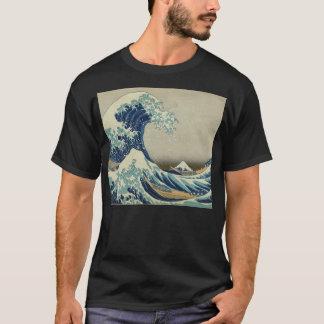 Illustration de vague bleue de Japonais T-shirt