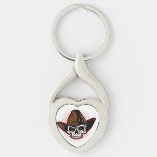 Illustration de vecteur de crâne de cowboy porte-clé argenté cœur torsadé
