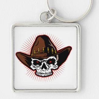 Illustration de vecteur de crâne de cowboy porte-clé carré argenté