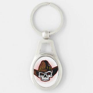 Illustration de vecteur de crâne de cowboy porte-clé ovale argenté