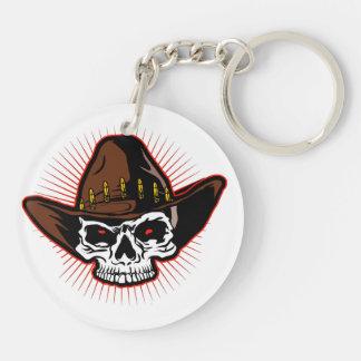 Illustration de vecteur de crâne de cowboy porte-clé rond en acrylique double face