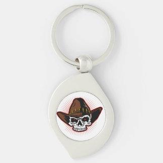 Illustration de vecteur de crâne de cowboy porte-clé swirl argenté