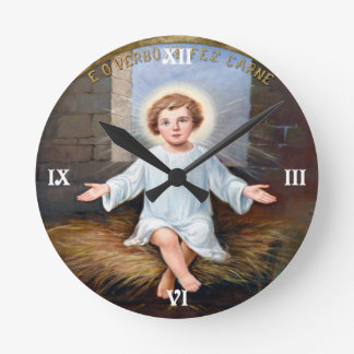 Illustration décorative de Jésus de bébé Horloge Ronde