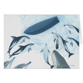 Illustration des dauphins regardant un bateau carte de vœux