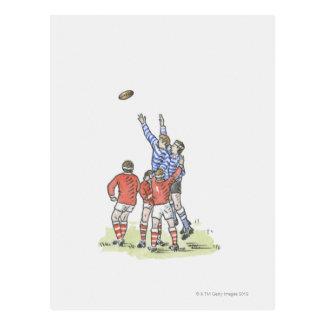 Illustration des hommes jouant au rugby sautant en cartes postales