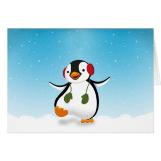 Illustration d'hiver de pingouin - carte de voeux