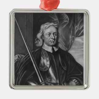 Illustration d'Oliver Cromwell Ornement Carré Argenté
