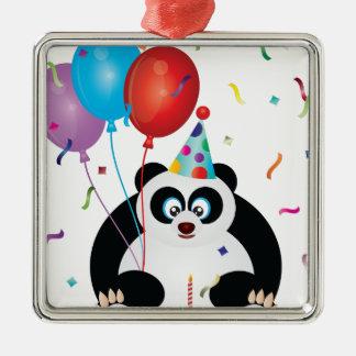 Illustration d'ours panda de joyeux anniversaire ornement carré argenté