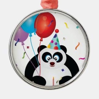 Illustration d'ours panda de joyeux anniversaire ornement rond argenté