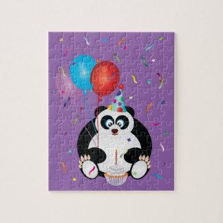 Illustration d'ours panda de joyeux anniversaire puzzle