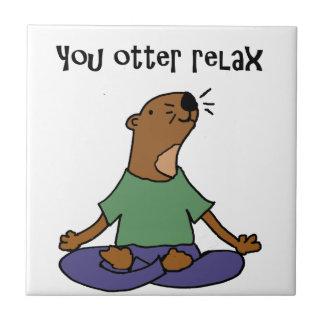 Illustration drôle de yoga de loutre de mer petit carreau carré