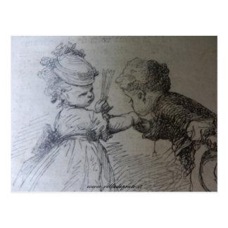Illustration du 19ème siècle de mode, noire et carte postale