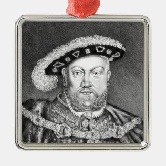 Illustration du Roi Henry VIII Ornement Carré Argenté