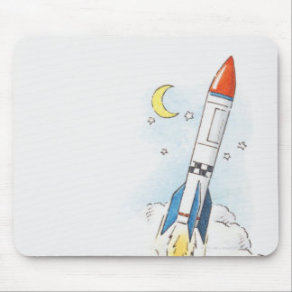 Illustration d'un décollage de fusée tapis de souris