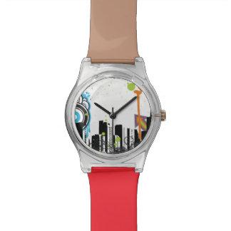 Illustration d'un paysage urbain sale montres cadran