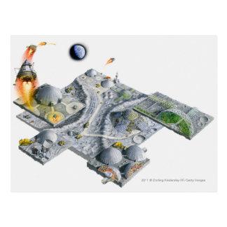 Illustration d'une base futuriste sur la lune carte postale