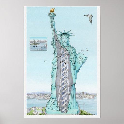 Illustration en coupe de statue de la libert poster zazzle for Createur statue de la liberte