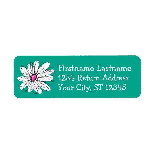 Illustration florale à la mode de marguerite - étiquette d'adresse retour