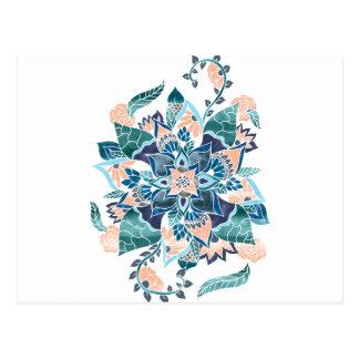 Illustration florale d'aquarelle bleue de corail carte postale
