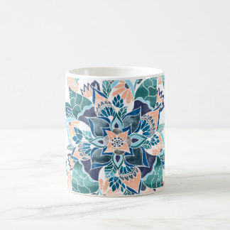 Illustration florale d'aquarelle bleue de corail mug