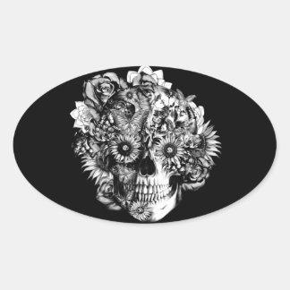 Illustration florale de crâne d'ohm de papillon sticker ovale