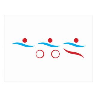 Illustration fraîche de logo de triathlon cartes postales