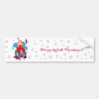 Illustration grise rouge élégante de Noël de mode Autocollant De Voiture