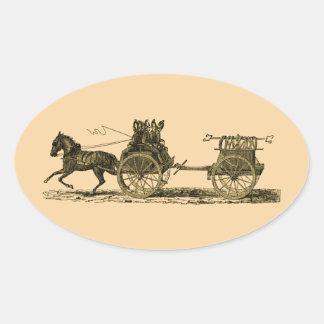 Illustration hippomobile vintage de pompe à autocollants ovales