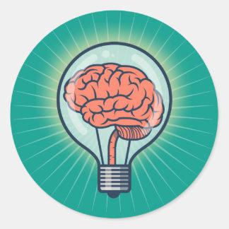 Illustration intelligente d'ampoule sticker rond