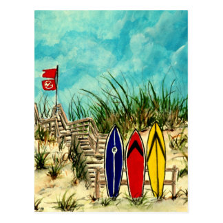 illustration jaune d art de surf de planche de sur carte postale
