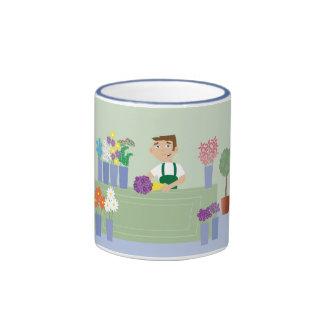 Illustration masculine de fleuriste de bande dessi mug
