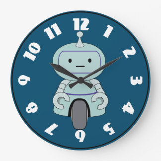 Illustration mignonne de robot grande horloge ronde