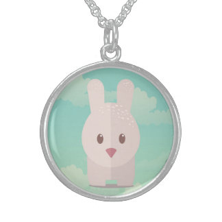 Illustration mignonne de style de Kawaii de lapin Collier Argent Sterling