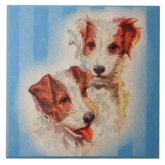 Illustration MIGNONNE de terriers de Jack Russell Grand Carreau Carré