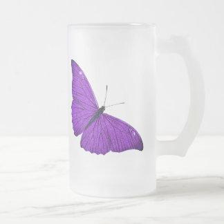Illustration pourpre foncée de papillon de 1800s frosted glass beer mug