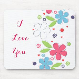 """Illustration romantique mignonne de fleurs """"je tapis de souris"""