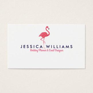 Illustration rose d'aquarelles de flamant cartes de visite