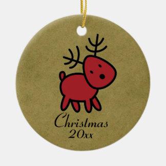 Illustration rouge de renne de Noël Ornement Rond En Céramique